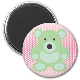 Mint Green Teddy Bear 6 Cm Round Magnet