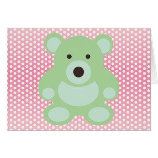 Mint Green Teddy Bear Greeting Card