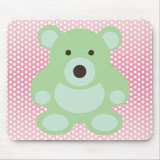 Mint Green Teddy Bear Mouse Pad