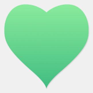 Mint Green to Shamrock Green Horizontal Gradient Heart Sticker