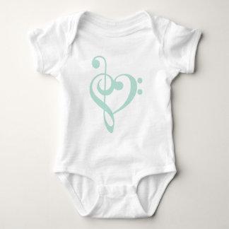 Mint Green Treble Clef & Bass Clef Heart Baby Bodysuit