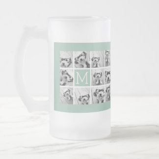 Mint Green Unique Photo Collage Custom Monogram Frosted Glass Beer Mug