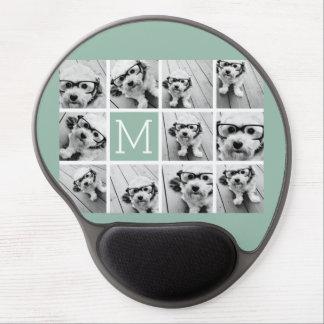 Mint Green Unique Photo Collage Custom Monogram Gel Mousepad