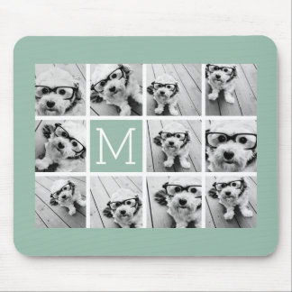 Mint Green Unique Photo Collage Custom Monogram Mousepads