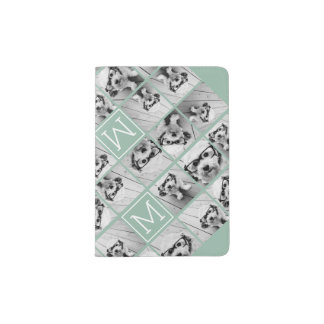 Mint Green Unique Photo Collage Custom Monogram Passport Holder
