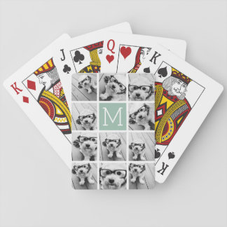 Mint Green Unique Photo Collage Custom Monogram Playing Cards
