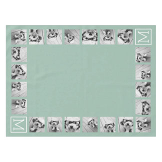 Mint Green Unique Photo Collage Custom Monogram Tablecloth