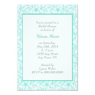 Mint Green Vintage Floral Bridal Shower Invitation