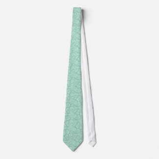 Mint-Green Vintage Floral Damasks Tie