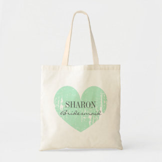 Mint green vintage heart bridesmaid tote bags