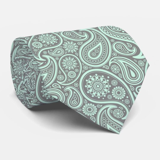 Mint-Green Vintage Paisley Custom Grey Background Tie