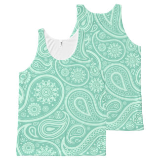 Mint-Green Vintage Paisley Pattern All-Over Print Tank Top