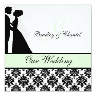 "Mint Green Wedding Couple Wedding Invitation 5.25"" Square Invitation Card"