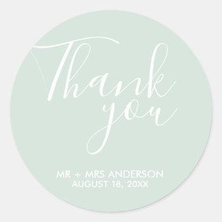 Mint Green Wedding Thank You Wedding Favour Classic Round Sticker