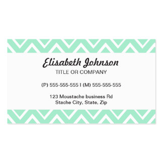 Mint green whimsical zigzag chevron pattern business cards