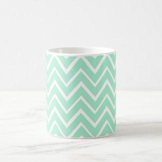 Mint green whimsical zigzag chevron pattern coffee mugs
