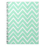 Mint green whimsical zigzag chevron pattern spiral note books