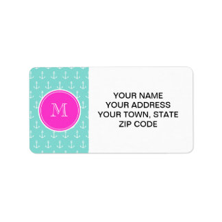 Mint Green White Anchors, Hot Pink Monogram Address Label