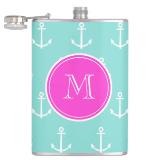 Mint Green White Anchors, Hot Pink Monogram Hip Flask