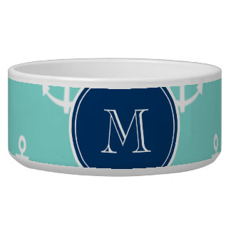 Mint Green White Anchors, Navy Blue Monogram