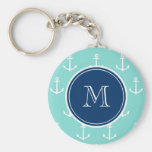 Mint Green White Anchors, Navy Blue Monogram