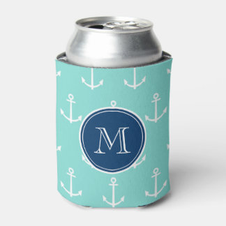 Mint Green White Anchors, Navy Blue Monogram Can Cooler