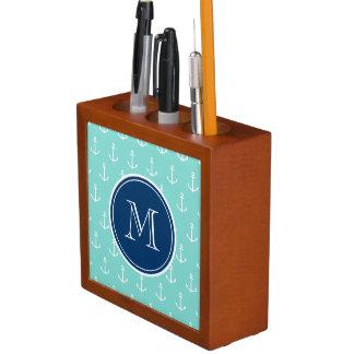 Mint Green White Anchors, Navy Blue Monogram Desk Organiser