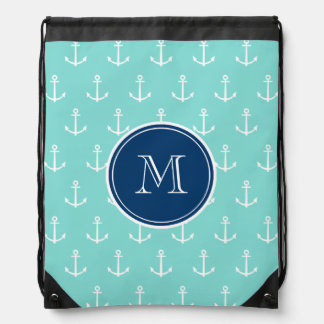 Mint Green White Anchors, Navy Blue Monogram Drawstring Bag