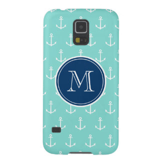 Mint Green White Anchors, Navy Blue Monogram Galaxy S5 Cases