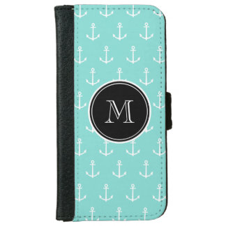 Mint Green White Anchors Pattern, Black Monogram iPhone 6 Wallet Case