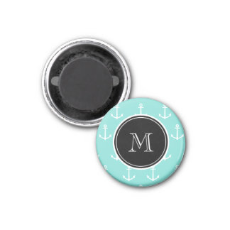 Mint Green White Anchors Pattern, Black Monogram Magnet