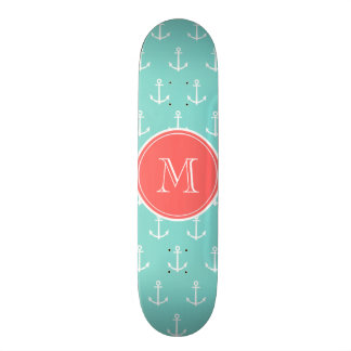 Mint Green White Anchors Pattern, Coral Monogram 18.1 Cm Old School Skateboard Deck