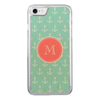 Mint Green White Anchors Pattern, Coral Monogram Carved iPhone 7 Case