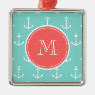 Mint Green White Anchors Pattern, Coral Monogram Christmas Ornament