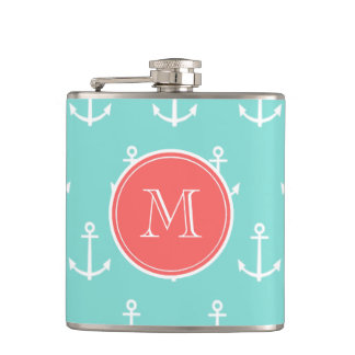 Mint Green White Anchors Pattern, Coral Monogram Hip Flask