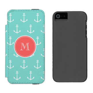 Mint Green White Anchors Pattern, Coral Monogram Incipio Watson™ iPhone 5 Wallet Case