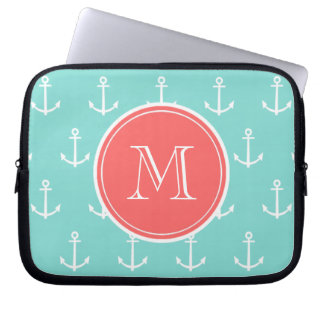Mint Green White Anchors Pattern, Coral Monogram Laptop Sleeve