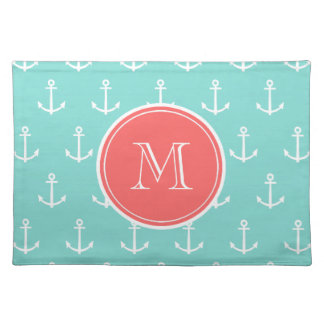 Mint Green White Anchors Pattern, Coral Monogram Placemat
