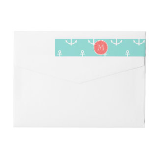 Mint Green White Anchors Pattern, Coral Monogram Wrap Around Label