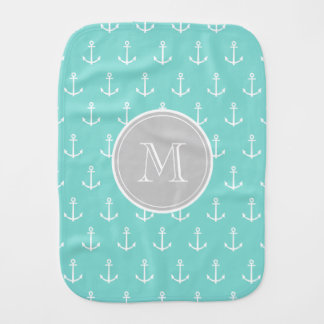 Mint Green White Anchors Pattern, Gray Monogram Burp Cloth