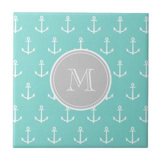 Mint Green White Anchors Pattern, Gray Monogram Tile