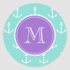Mint Green White Anchors Pattern, Purple Monogram Classic Round Sticker