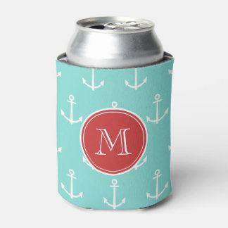 Mint Green White Anchors Pattern, Red Monogram Can Cooler