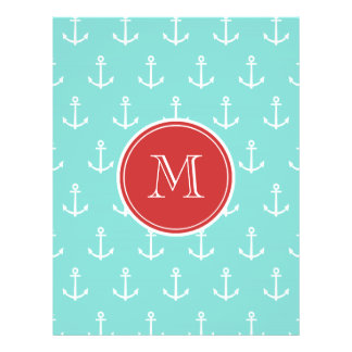 Mint Green White Anchors Pattern, Red Monogram Flyer