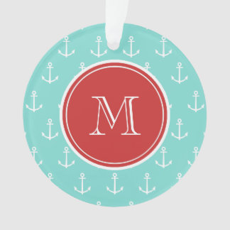 Mint Green White Anchors Pattern, Red Monogram Ornament