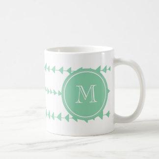 Mint Green White Aztec Arrows Monogram Coffee Mug