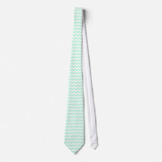Mint Green & White Chevron Neck Tie