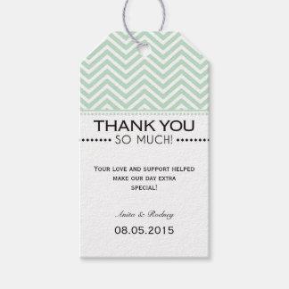 Mint Green White Chevron Wedding Thank You Tags