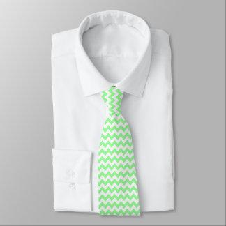 Mint Green White Chevron Zig-Zag Pattern Tie