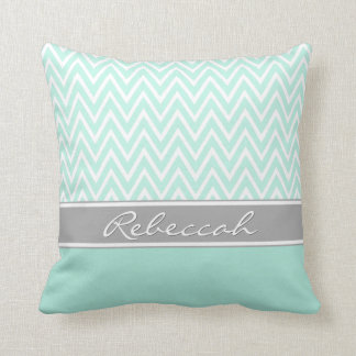 Mint Green White Chevron Zigzag Pattern Gray Name Cushion